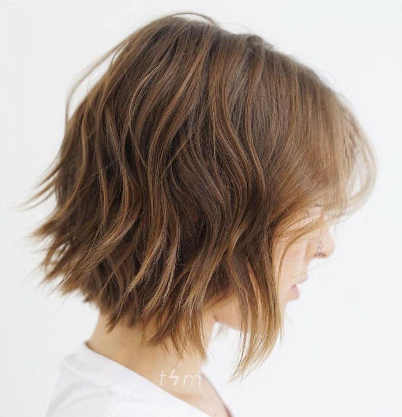 Choppy Wavy Bob For Fine Hair Kapsels Golvend Haar Kapsels Kapsel Halflang Golvend Haar