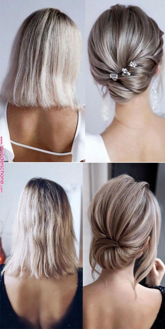 20 Medium Length Wedding Hairstyles For 2019 Brides Wedding Ideas Wedding Hairstyles Short Wedding H Short Hair Updo Short Wedding Hair Medium Hair Styles