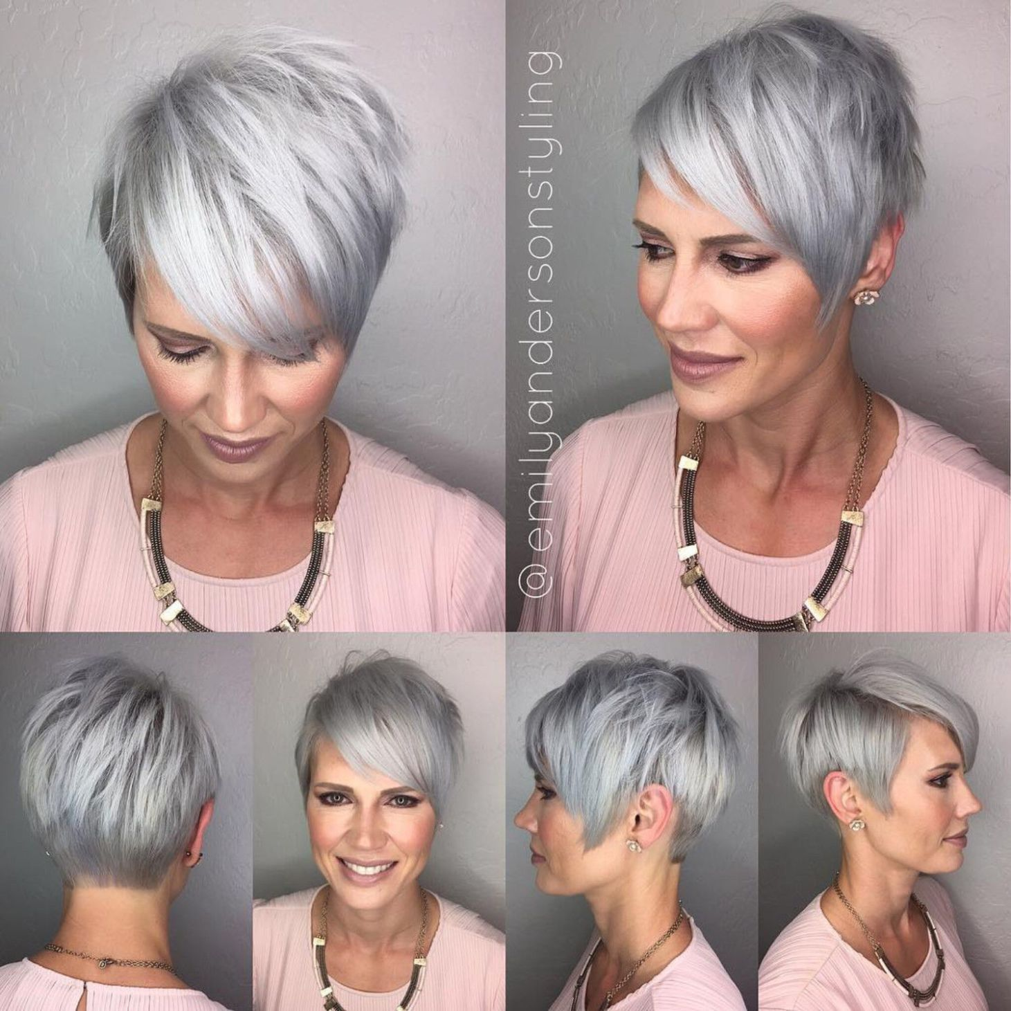 Choppy Gray Pixie With Side Bangs In 2021 Kapsels Voor Kort Haar Kort Haar Kapsels Kapsels