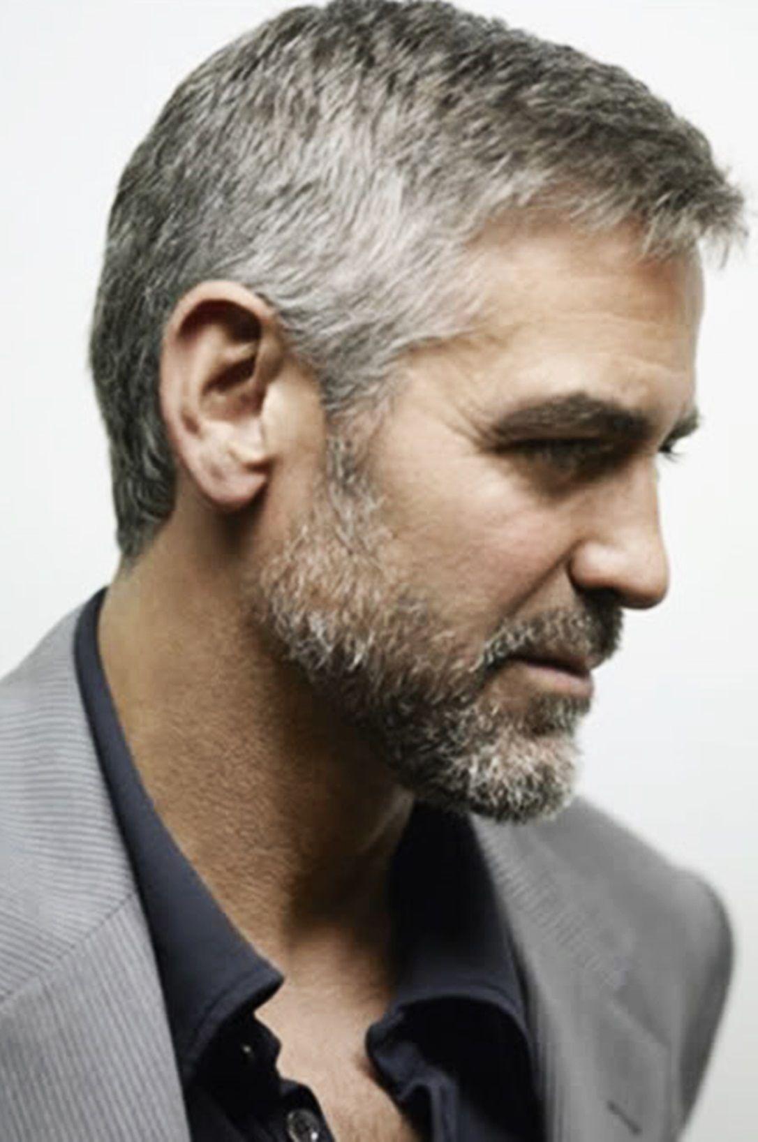 George Clooney Haarstijl Mannen Grijs Haar Mannen Mannenkapsels