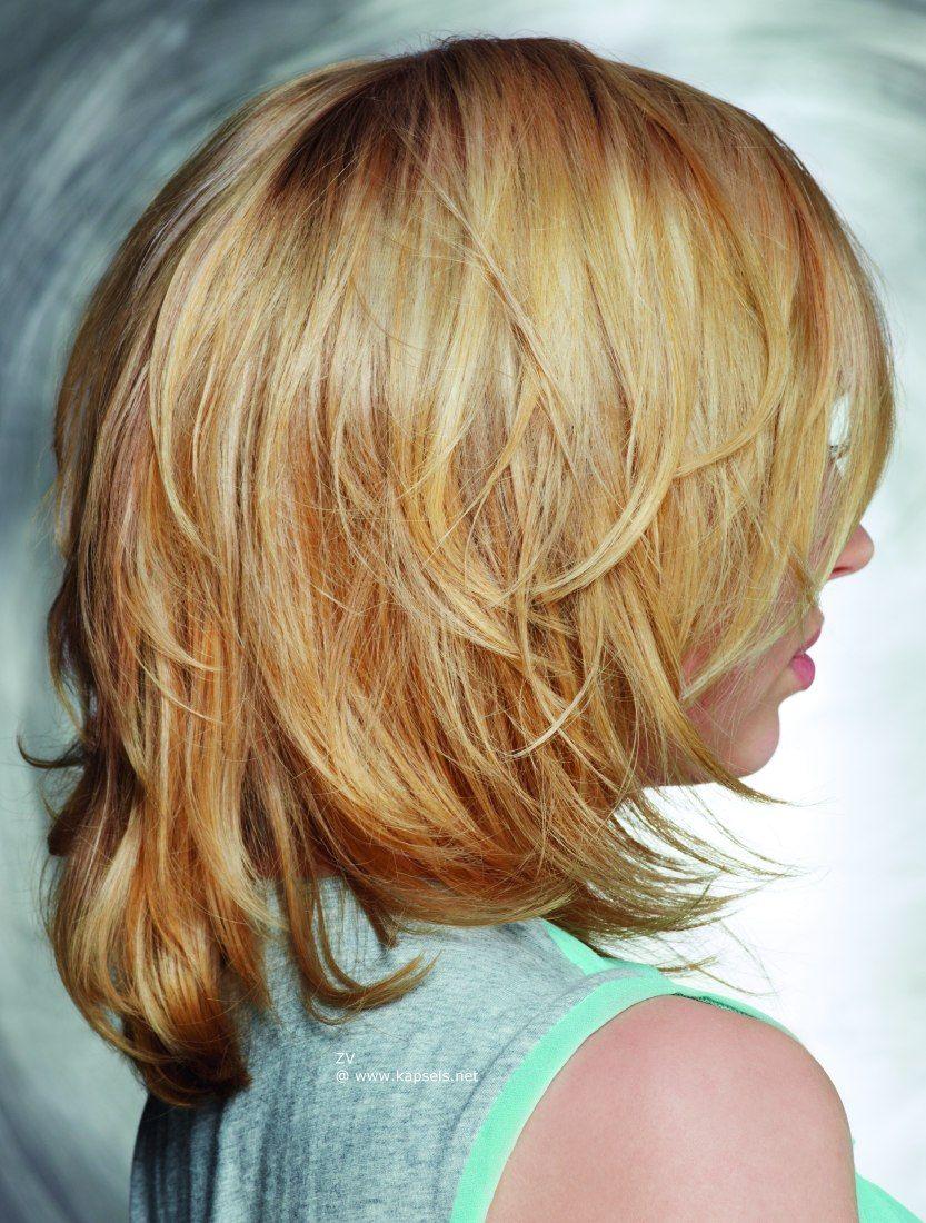 Haar In Laagjes Halflang Google Zoeken Kapsels Kapsel Halflang Haar Laagjes Half Lang Haar