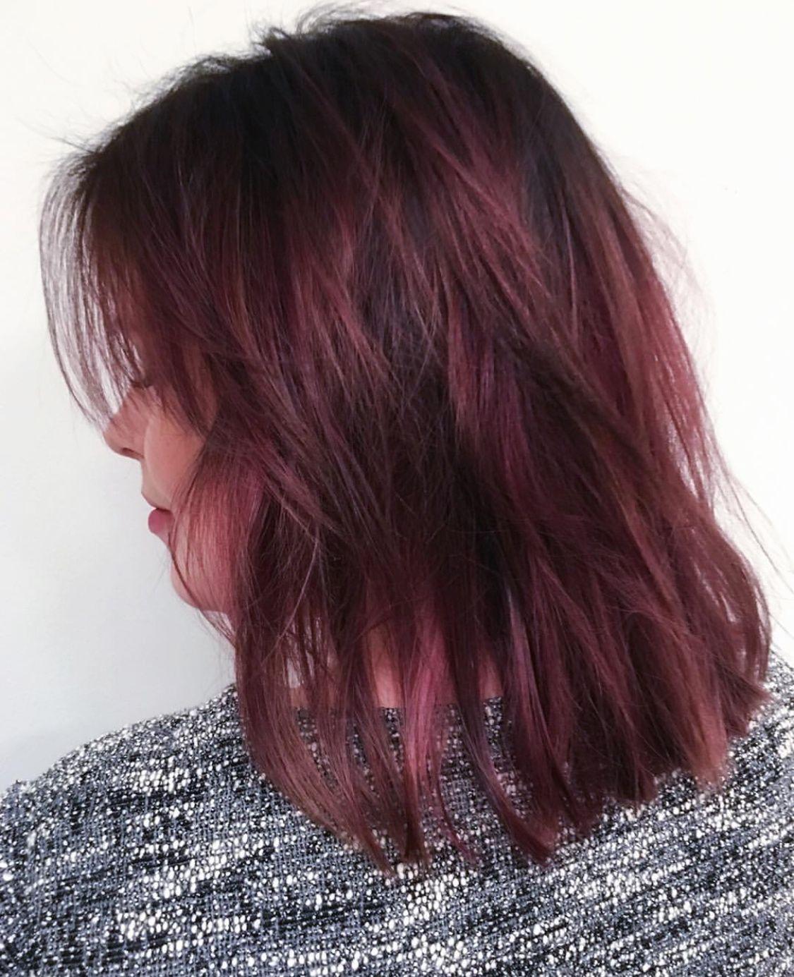 Cyclaam Pink Hair Brunette Medium Hair Hair Color Pink Pink Hair Rose Hair