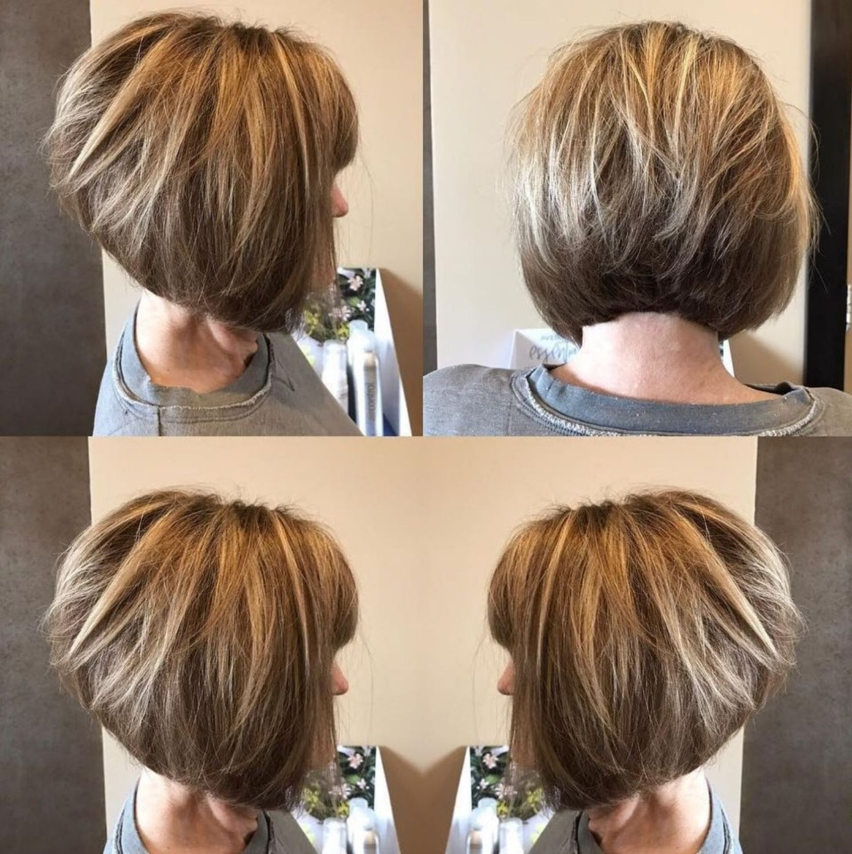 Inverted Bob With Blonde Highlights Kapsels Dun Haar Laagjes Kapsel Halflang Kort Haar Mode