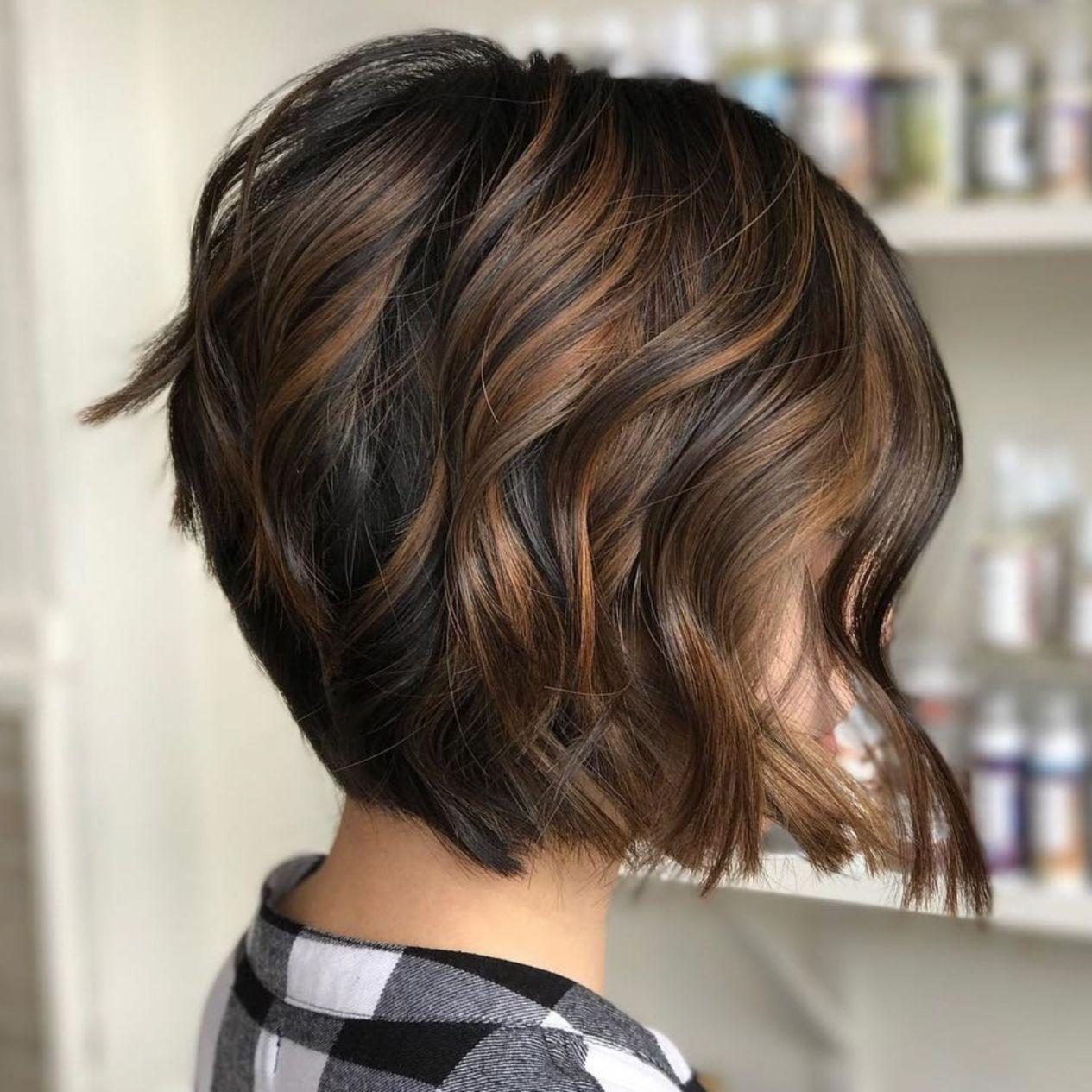 Light Brown Highlights For Black Bob Warm Bruin Haar Kapsels Chocoladebruin Haar