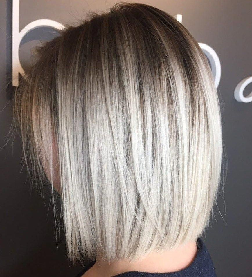 Poker Straight Silver Bob With Root Fade Bobhairstylesforfinehair In 2020 Bob Haircut For Fine Hair Haircuts For Fine Hair Long Bob Haircuts