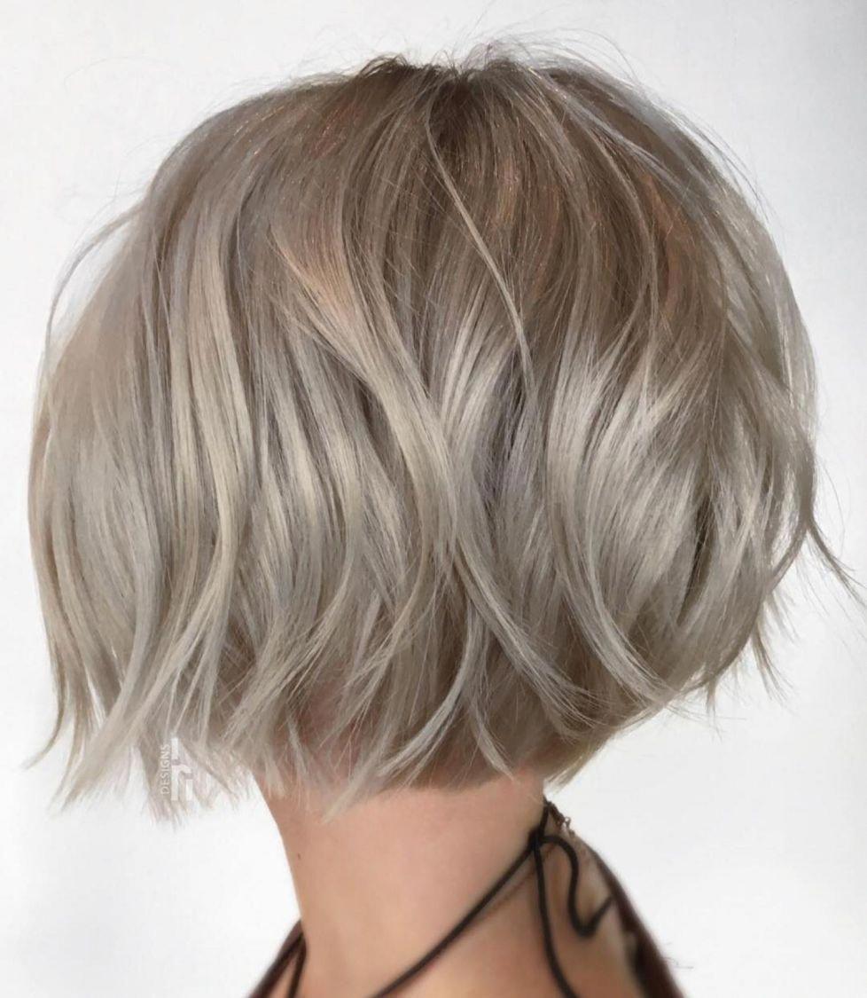 Choppy Rounded Ash Blonde Bob Bobhairstylesforfinehair In 2020 Ash Blonde Bob Ash Blonde Short Hair Thick Hair Styles