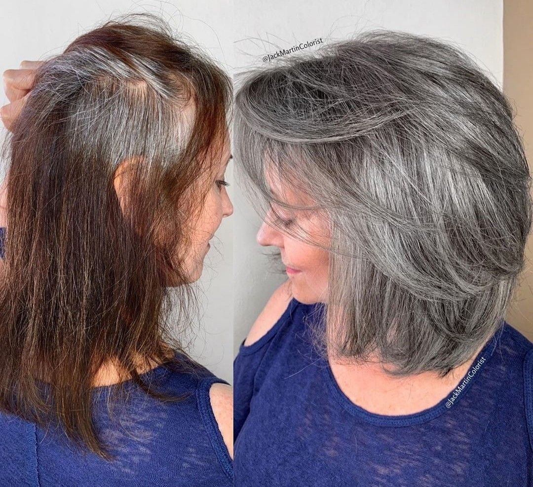 Pin By Lydwine Cosaert On Color De Cabello Grey Hair Transformation Gray Hair Highlights Grey Curly Hair