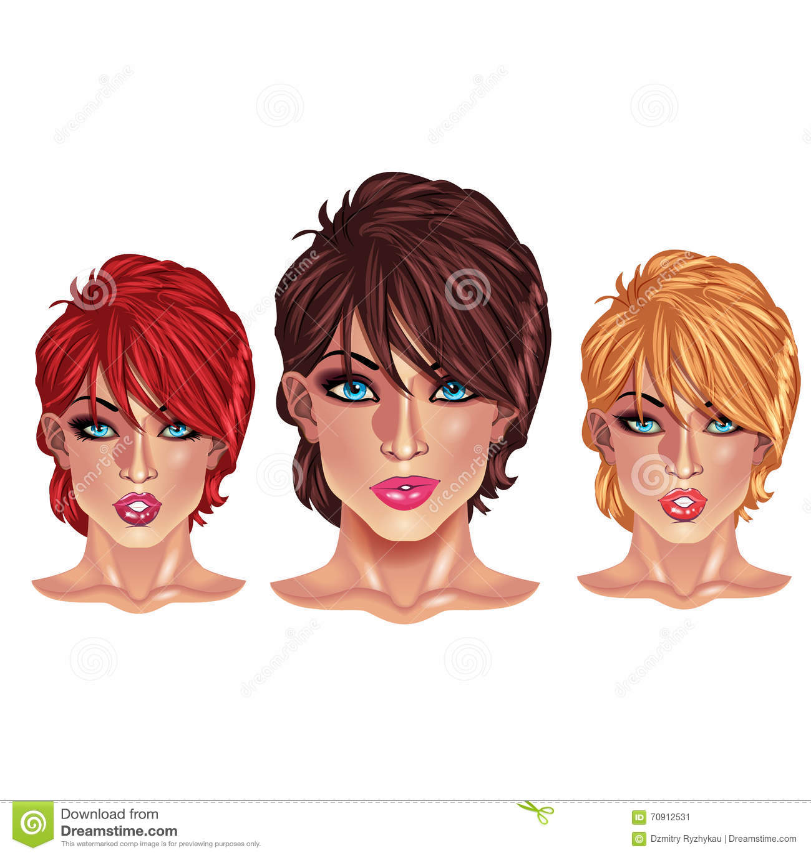 Mooie Meisjes Met Korte Kapsels Stock Illustratie Illustratie Bestaande Uit Illustratie Gezicht 70912531