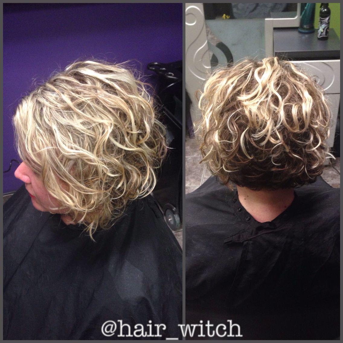 Natural Curly Short Inverted Blonde Bob Styled With Devacurl Rommelige Kapsels Korte Krullen Krullend Haar