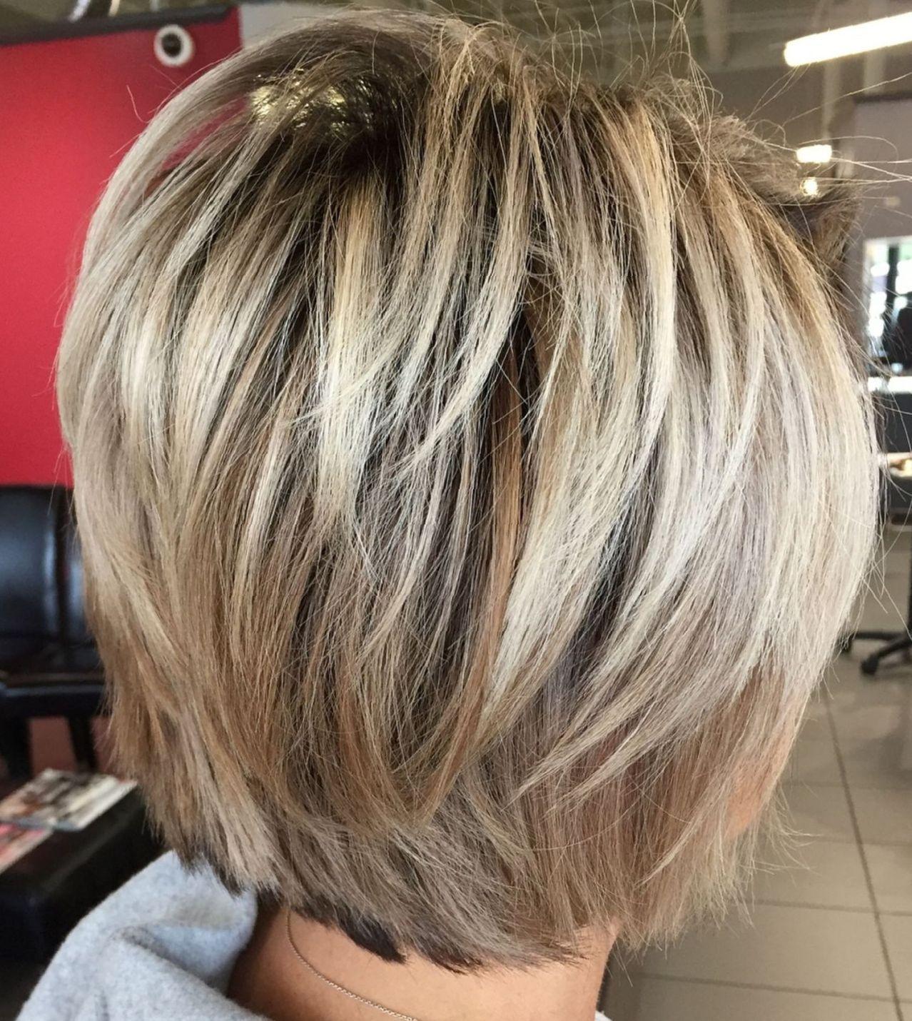 Layered Blonde Balayage Bob Kapsels Fijn Haar Kapsels Haar Highlights