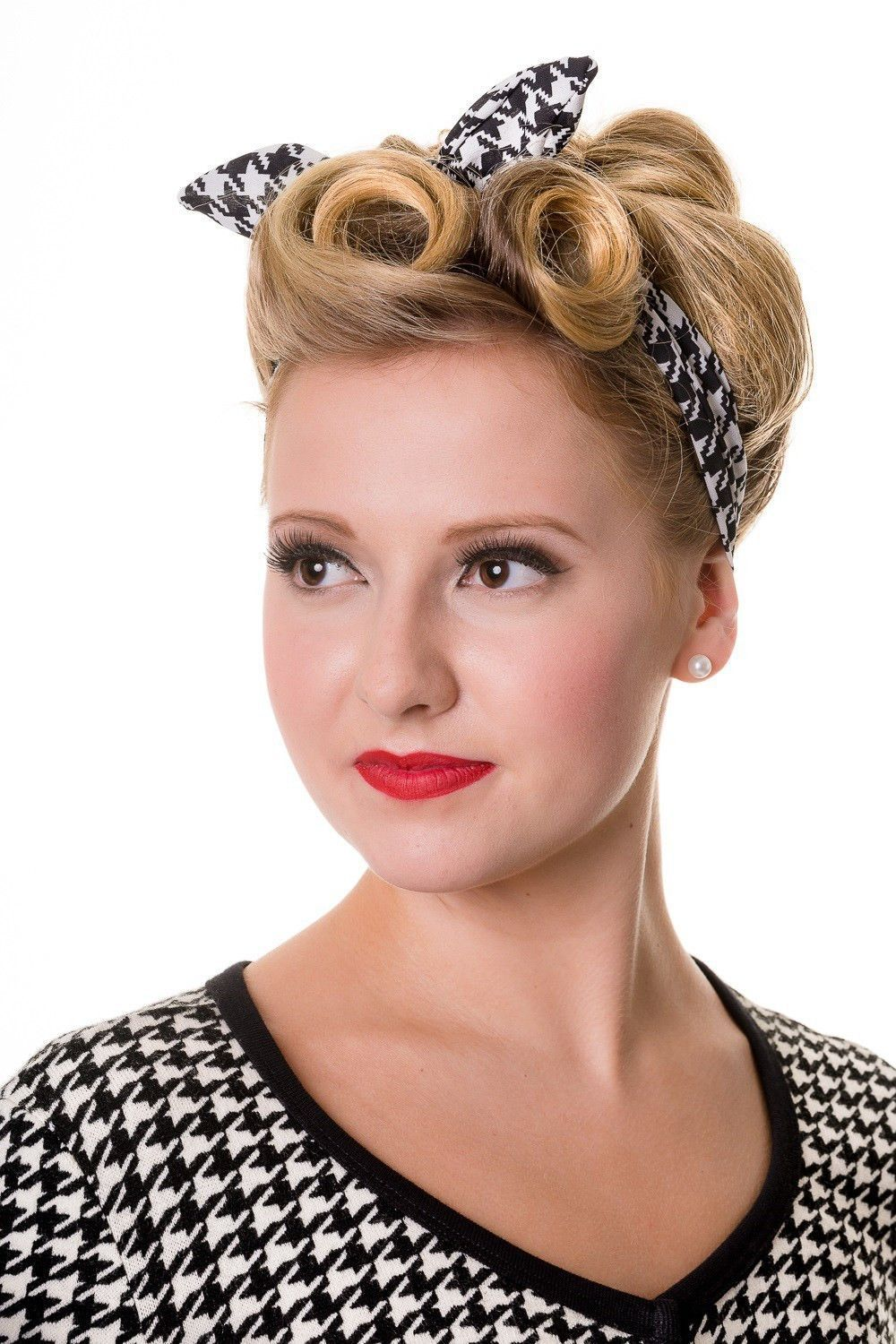 Retro 60 S Pinup Plaid And Houndstooth Pattern Elastic Campus Headband Peinados Retro Peinado Y Maquillaje Peinados