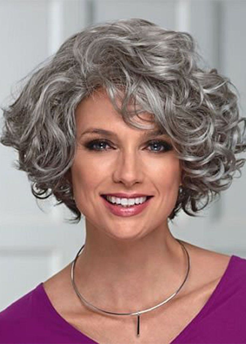 Elegant Women S Mid Length Wig With Face Framing Layers Of Loose Curly Synthetic Hair Capless Wigs 16inch Curly Hair Styles Grey Curly Hair Hair Styles
