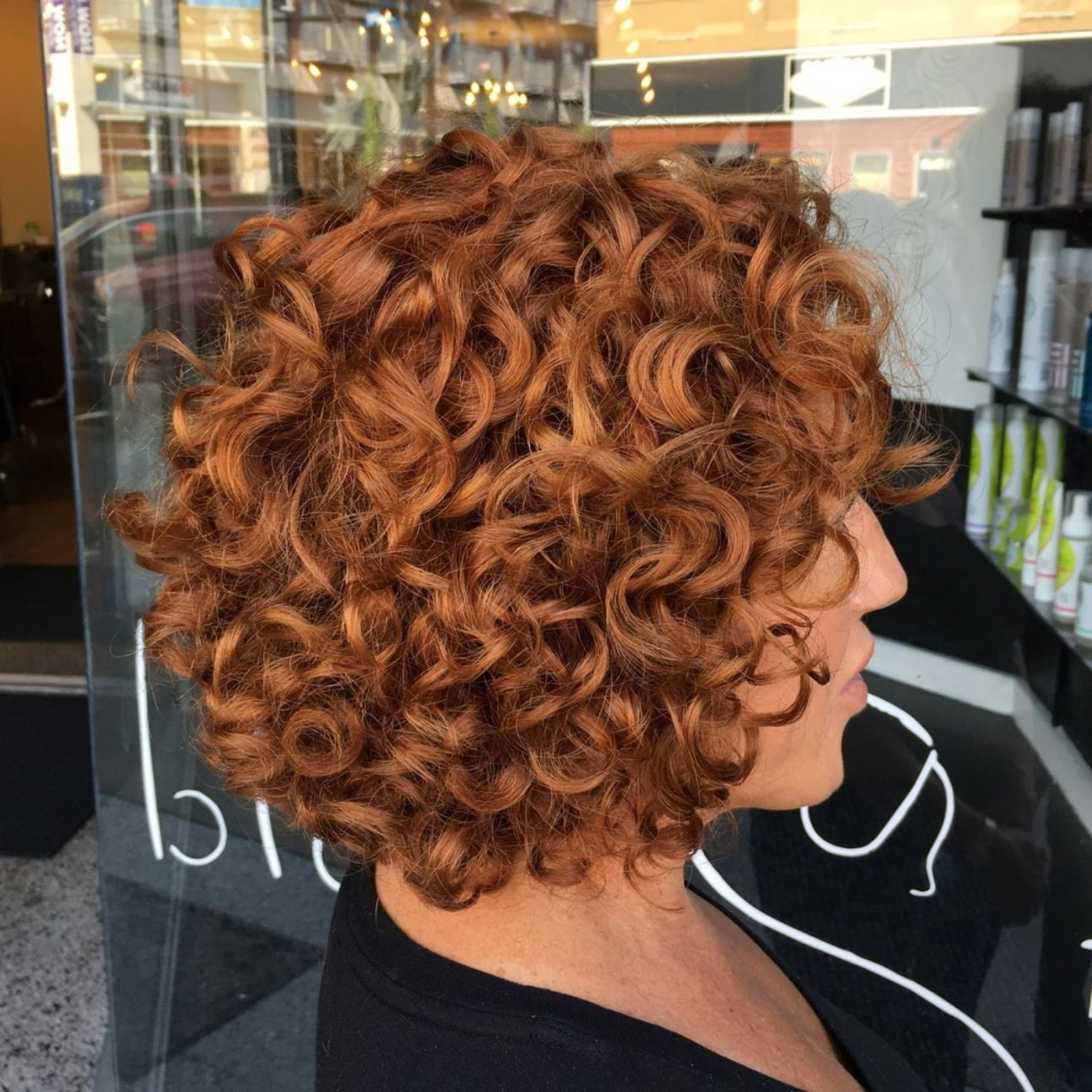 Short Curly Copper Red Bob Bob Kapsel Krullen Kapsel Voor Krullend Haar Kort Haar Krullen