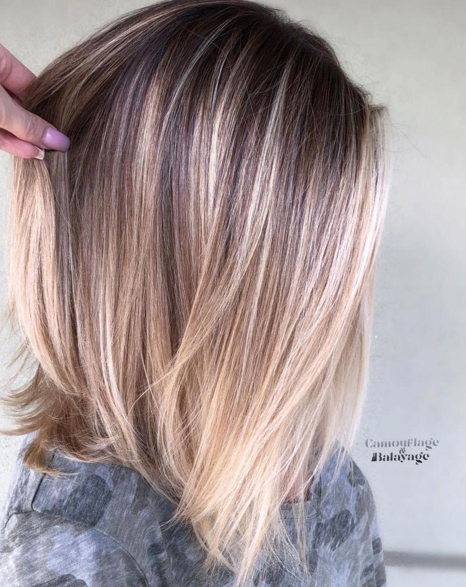 Long Textured Bob With Bronde Balayage Haircolorbalayage Kleur Haar Kapsels Halflang Stijl Haar Halflang Blond Haar