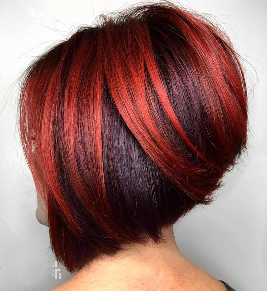 Deep Red Dit Is De Haarkleur Die We Veel Gaan Zien In Kort Dit Najaar Gestapelde Bob Kapsels Stijle Kapsels Kapsels Boblijn