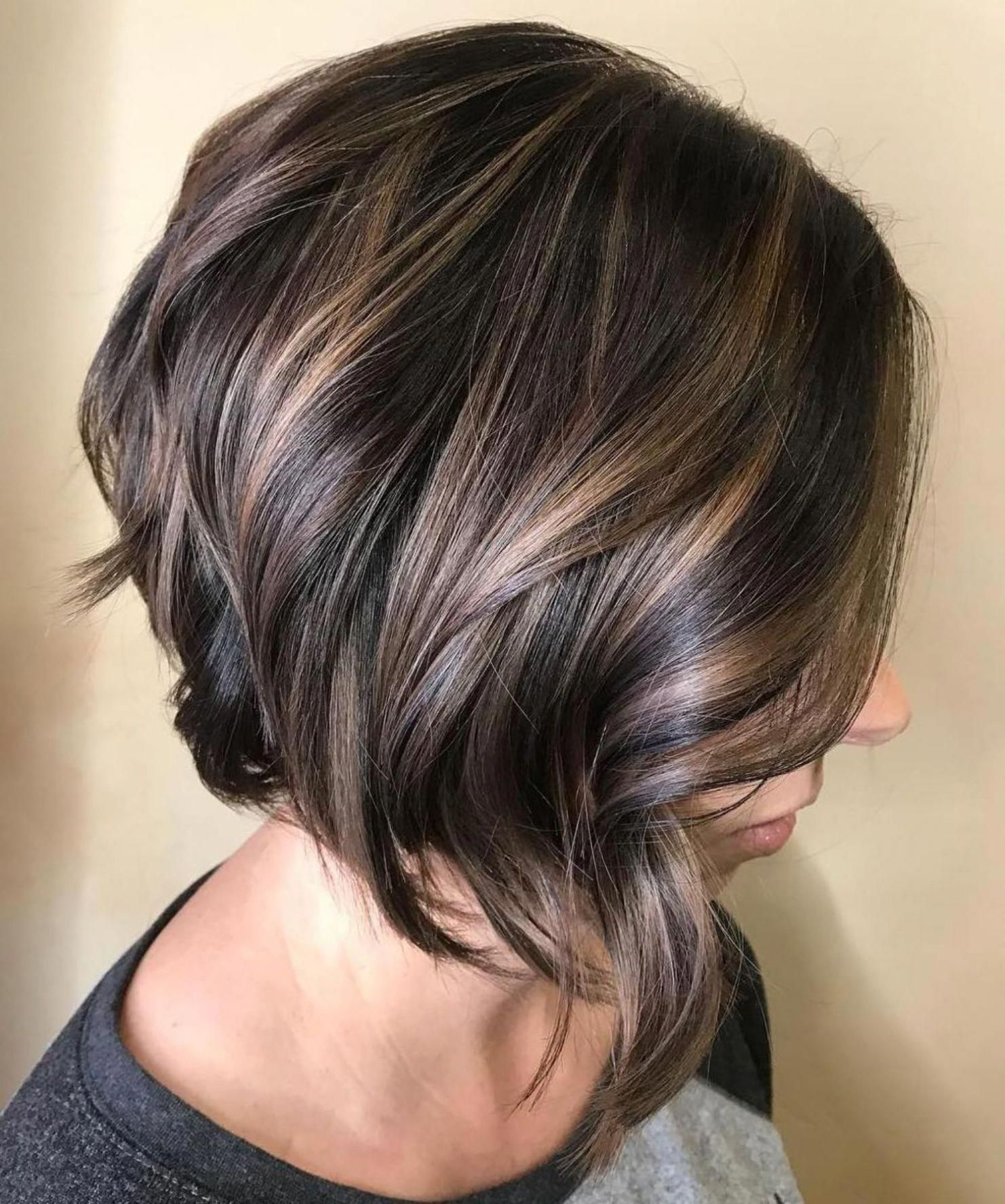 Brunette Bob With Curled Ends Bobstylehaircuts Hair Styles Choppy Bob Hairstyles Short Hairstyles For Thick Hair